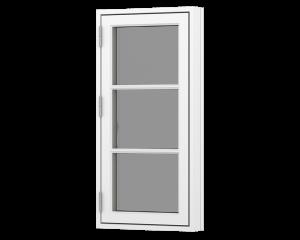 Rationel 1 fags sidehængt vindue med 2 vandrette energisprosse. Vindues kaldes også et bondehus vindue. Vinduet fås både i træ og træ/alu.  Leveres i en klassisk model med 25 mm energisprosse og en moderne model med en 31 mm energisprosse. Vælg mellem va